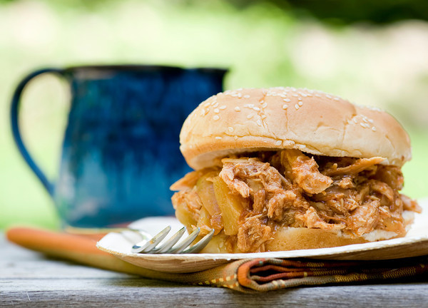 Slow Cooked Hawaiian Barbecue Pulled Chicken Sandwiches- The Gaia ...