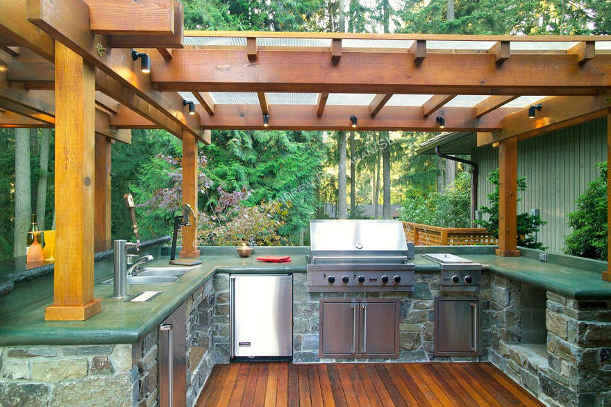 Dressed to grill healthy delicious summer grilling for Outdoor stone kitchen designs