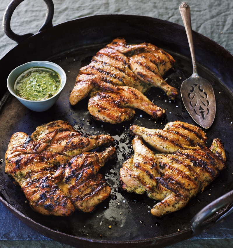 "Chicken (or Cornish Hen) with Chimichurri Sauce….. ""Under a Brick ..."