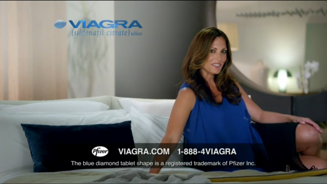 Viagra model blue dress